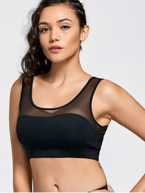 outfit Mesh Panel Color Block Sports Bra - BLACK M Mobile