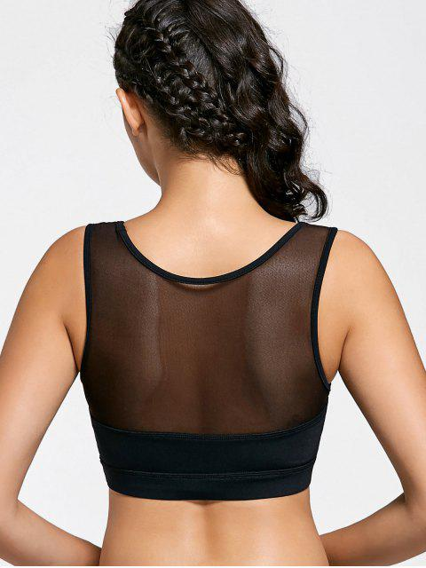outfits Mesh Panel Color Block Sports Bra - BLACK S Mobile