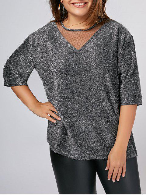 shops Plus Size Shiny Voile Panel Top -   Mobile