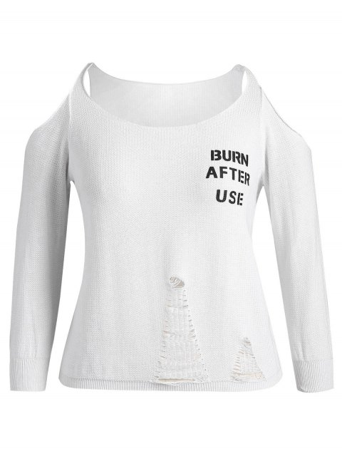 buy Plus Size Cold Shoulder Letter Ripped Knitwear - WHITE 3XL Mobile