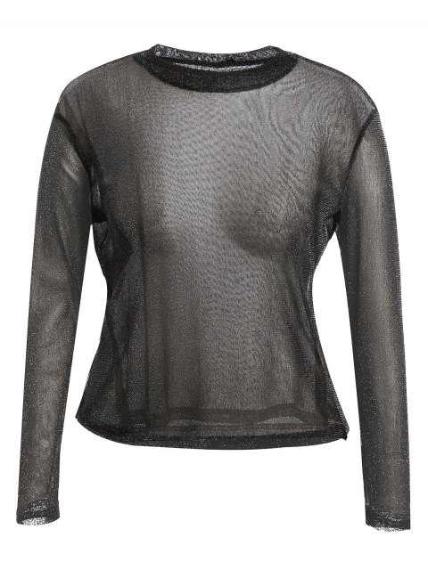 best Long Sleeve Plus Size Gilding T-shirt - BLACK XL Mobile