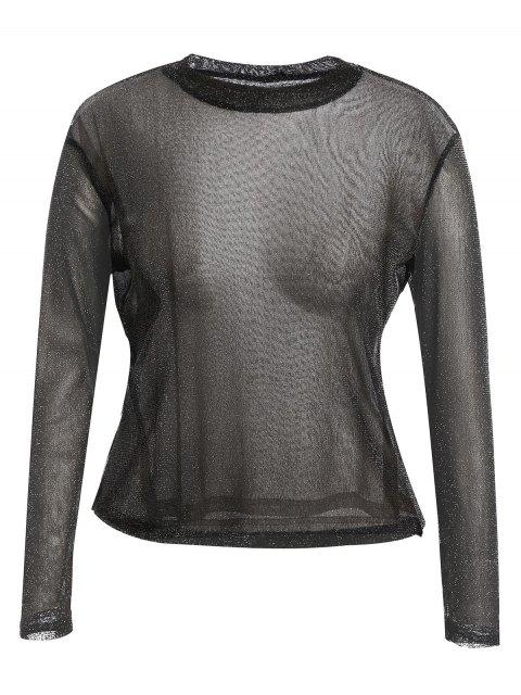 online Long Sleeve Plus Size Gilding T-shirt - BLACK 2XL Mobile