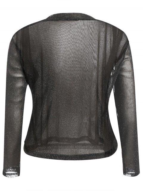 hot Long Sleeve Plus Size Gilding T-shirt - BLACK 4XL Mobile