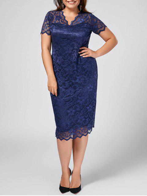 Plus Size Scalloped schiere Spitze Kleid - Schwarzblau 3XL Mobile