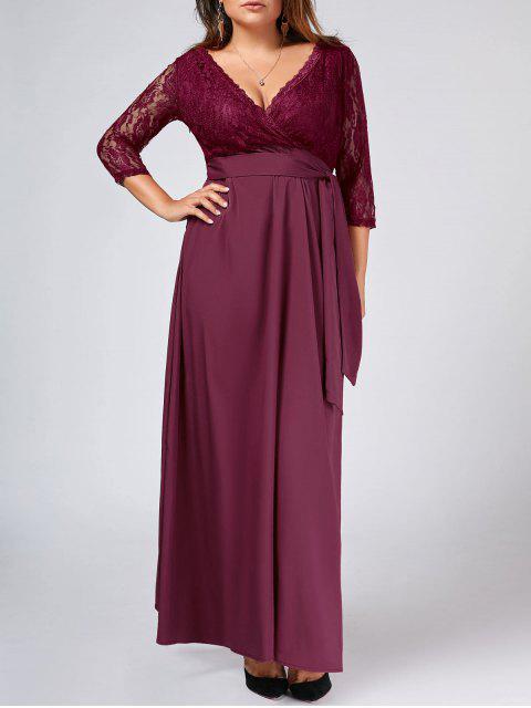 Lace Panel Belted Plus Size Robe de bal - Bordeaux 2XL Mobile