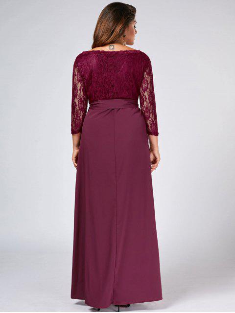 Lace Panel Belted Plus Size Robe de bal - Bordeaux XL Mobile