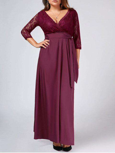 affordable Lace Panel Belted Plus Size Prom Dress - PURPLISH RED XL Mobile