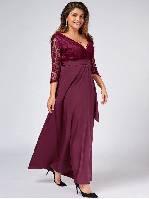women Lace Panel Belted Plus Size Prom Dress - PURPLISH RED 5XL Mobile