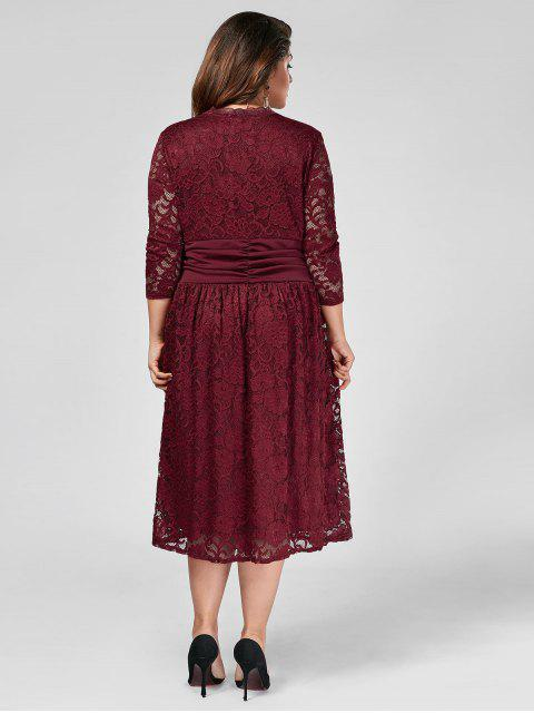 lady Plus Size Empire Waist Sheer Lace Dress - WINE RED 3XL Mobile