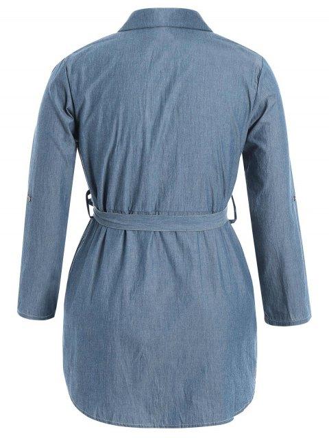 Robe à manches courtes taille taille - Denim Bleu 4XL Mobile