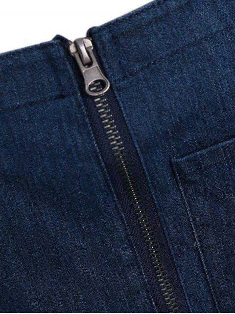 new Plus Size Front Zipper Denim Overalls - DENIM BLUE 2XL Mobile