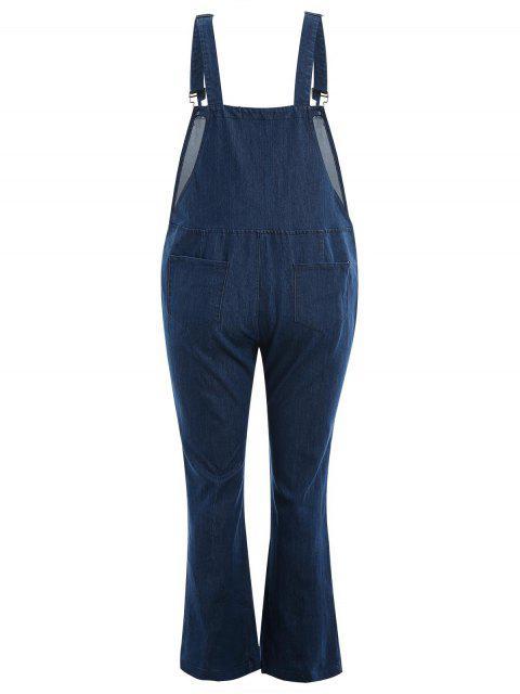 hot Plus Size Front Zipper Denim Overalls - DENIM BLUE 3XL Mobile