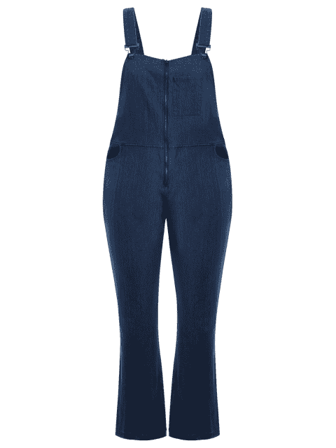 Maillot de bain en denim à fermeture éclair - Denim Bleu 4XL Mobile