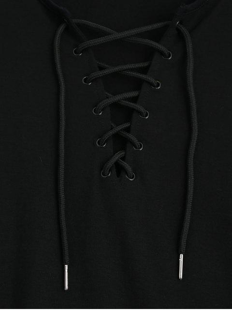 sale Lace Up Long Sleeve Plunge Tee - BLACK XL Mobile
