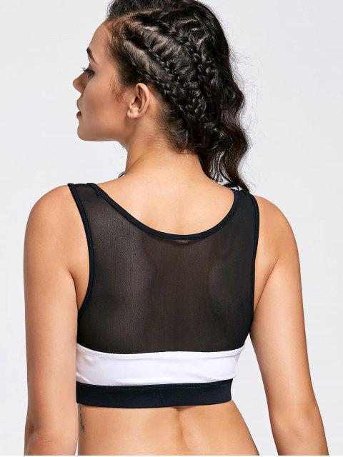 women's Color Block Mesh Panel Sports Bra - WHITE AND BLACK L Mobile