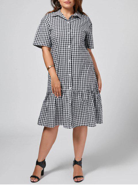 fancy Plus Size Checked Ruffles Shirt Dress - CHECKED 5XL Mobile