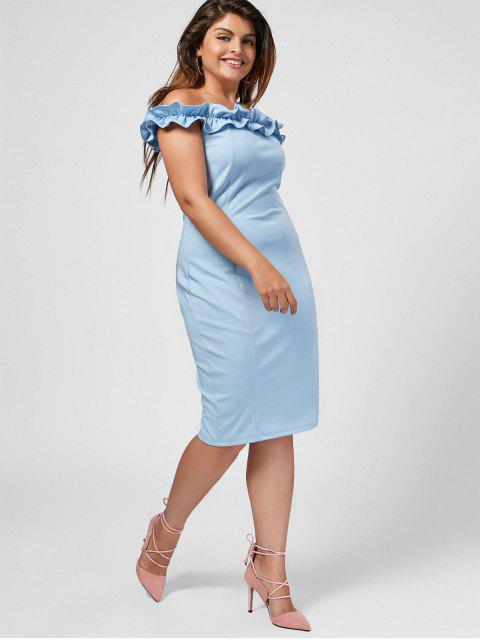 Ruffles Plus Size Off Shoulder Dress - Bleu clair 2XL Mobile
