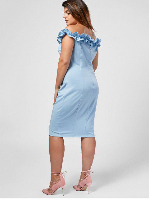 Ruffles Plus Size Off Shoulder Dress - Bleu clair 3XL Mobile