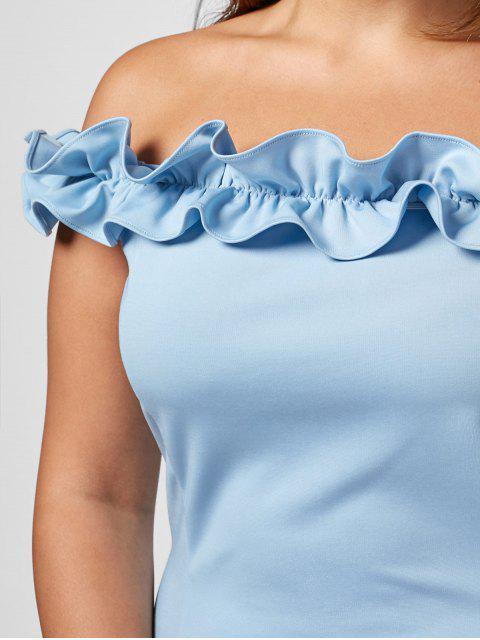 Ruffles Plus Size Off Shoulder Dress - Bleu clair 4XL Mobile