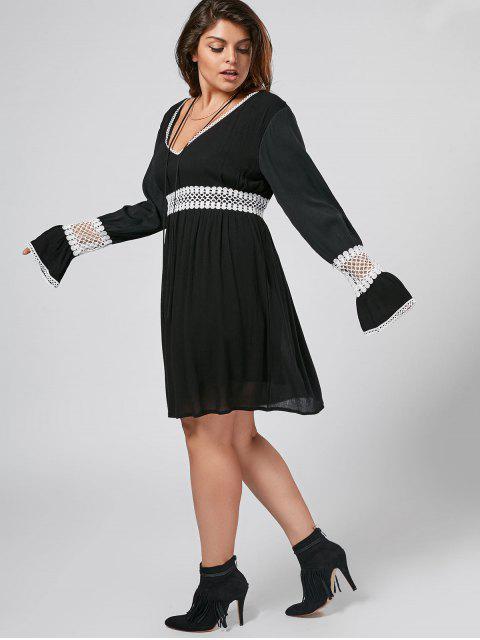 Flare Sleeve Plus Size Crochet Panel Dress - Noir XL Mobile