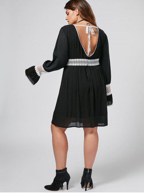 women's Flare Sleeve Plus Size Crochet Panel Dress - BLACK 2XL Mobile