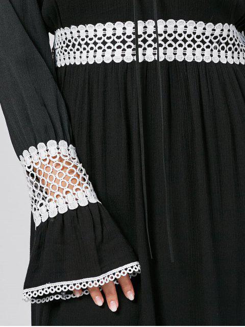 ladies Flare Sleeve Plus Size Crochet Panel Dress - BLACK 3XL Mobile