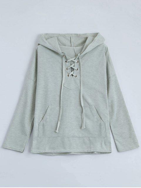 fancy Drop Shoulder Lace Up Hoodie - LIGHT GRAY L Mobile