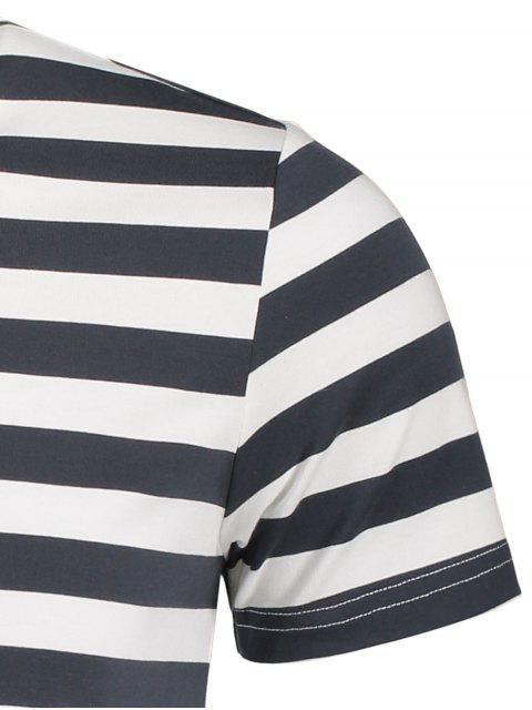 women's Mens Crewneck Striped Jersey Tee - GREY AND WHITE 2XL Mobile