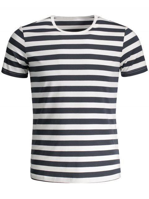 T-shirt Jersey à Rayures Col Rond - Gris et Blanc XL Mobile