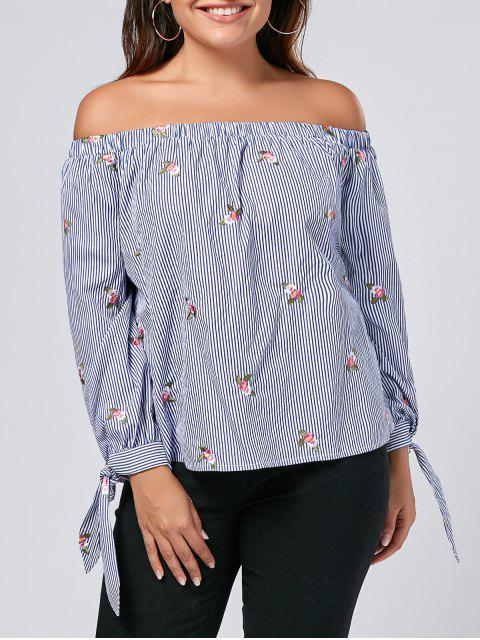 shops Embroidered Plus Size Off Shoulder Top - STRIPE XL Mobile