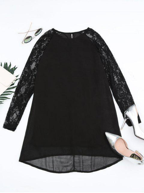 best Lace Panel Cut Out Shift Dress - BLACK M Mobile