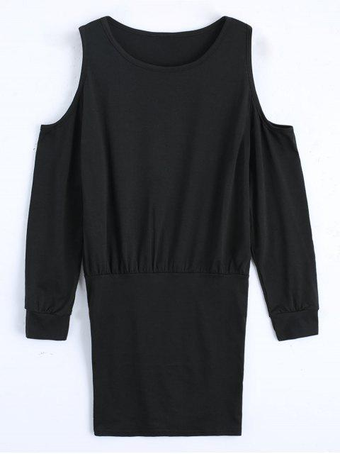 outfit Cold Shoulder Long Sleeve Mini Dress - BLACK L Mobile