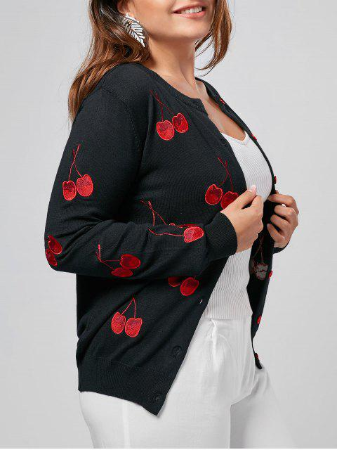 Cárdigan bordado de cereza Plus Size - Negro 2XL Mobile