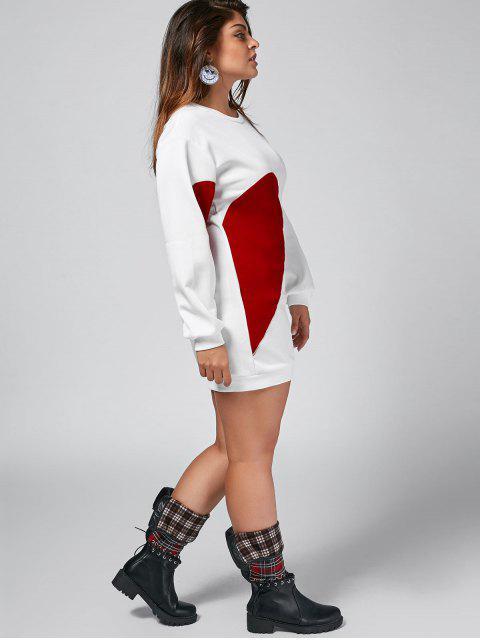 hot Heart Plus Size Patch Desigh Mini Dress - WHITE XL Mobile