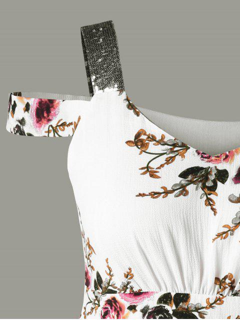 Robe épaule fantaisie mince - Blanc 5XL Mobile