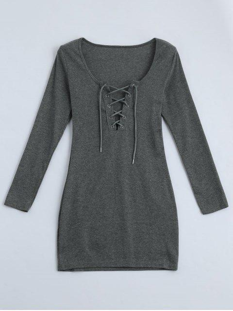 hot Plunging Neck Lace Up Fitted Dress - GRAY L Mobile