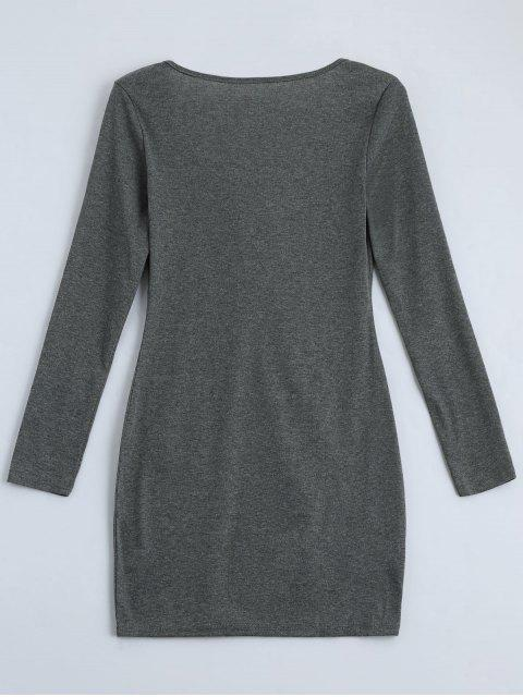 outfit Plunging Neck Lace Up Fitted Dress - GRAY XL Mobile