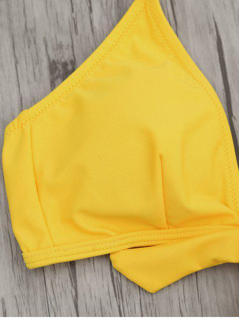 One Piece Cut Out Halter Swimwear - Jaune M Mobile