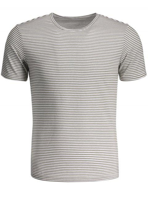 shops Mens Striped Crewneck Jersey Tee - WHITE AND GRAY 2XL Mobile