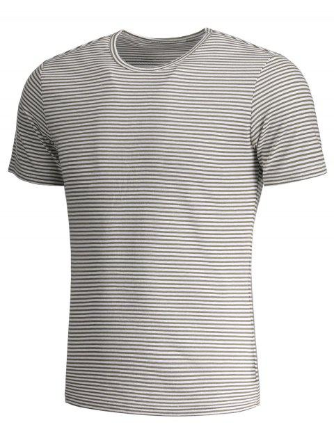 latest Mens Striped Crewneck Jersey Tee - WHITE AND GRAY XL Mobile