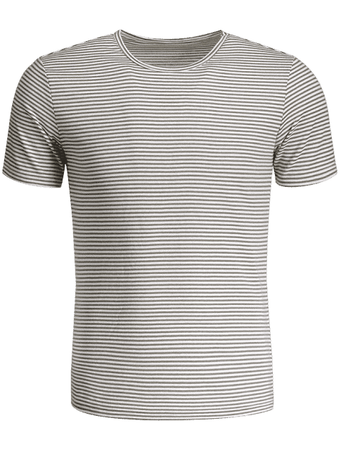 shop Mens Striped Crewneck Jersey Tee - WHITE AND GRAY 3XL Mobile