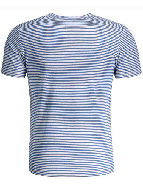 trendy Mens Striped Crewneck Jersey Tee - BLUE AND WHITE 3XL Mobile