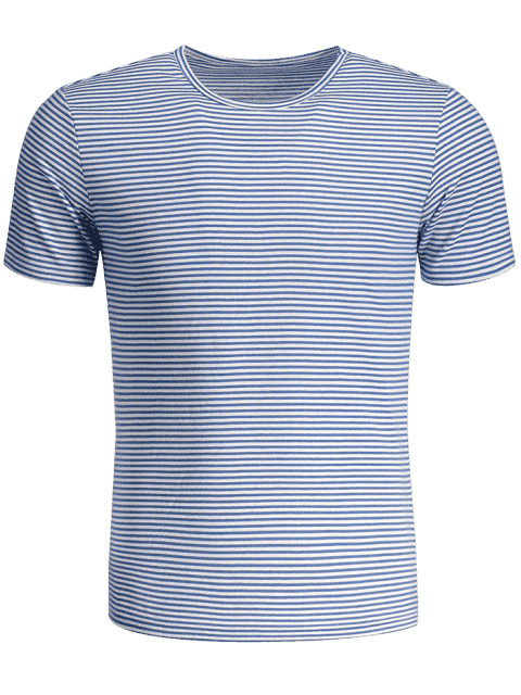 chic Mens Striped Crewneck Jersey Tee - BLUE AND WHITE XL Mobile