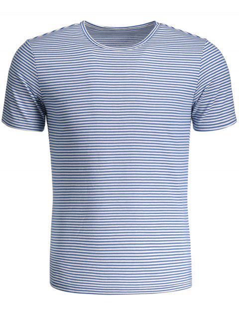 T-shirt Jersey Col Rond à Rayures - Bleu et Blanc XL Mobile