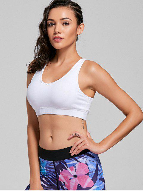 women Scoop Padded Strappy Active Bra - WHITE M Mobile