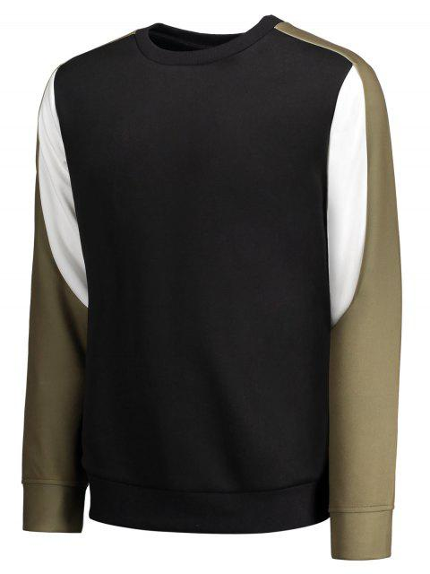 womens Crew Neck Color Block Panel Sweatshirt - BLACK M Mobile