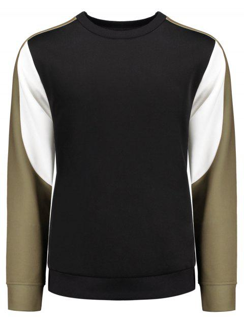 women Crew Neck Color Block Panel Sweatshirt - BLACK L Mobile
