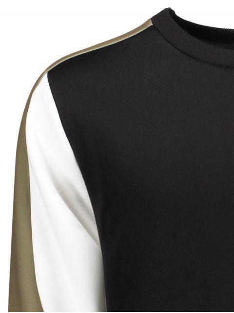 women Crew Neck Color Block Panel Sweatshirt - BLACK L Mobile