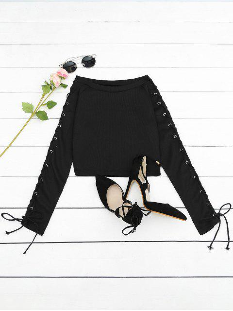 affordable Lace Up Ribbed Knitted Tee - BLACK L Mobile