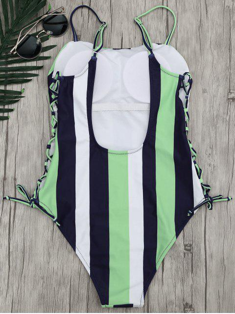 hot Stripe Lace-Up Backless Swimsuit - STRIPE L Mobile